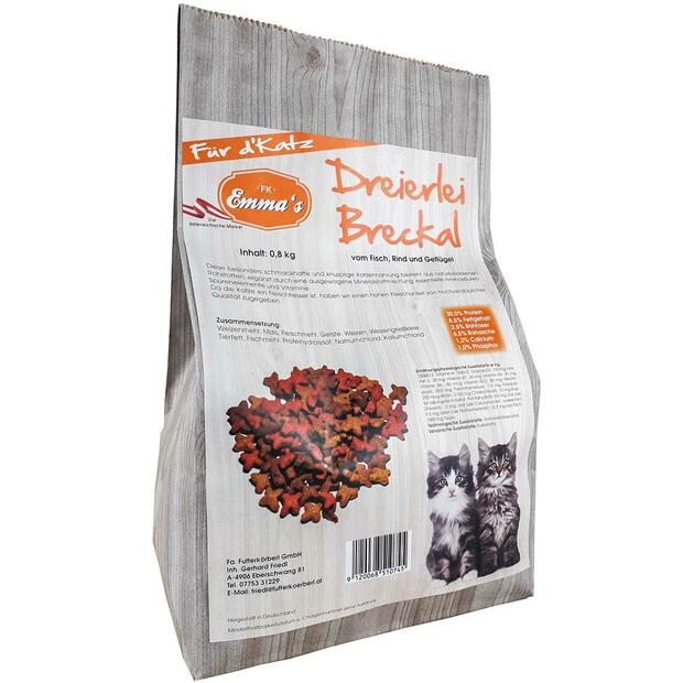 Emmas cat food Dreierlei Breckal from fish/beef/chicken