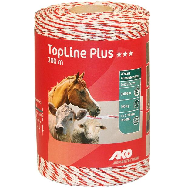 Polywire TopLine plus 1000 m white/red 9 x 030 TriC