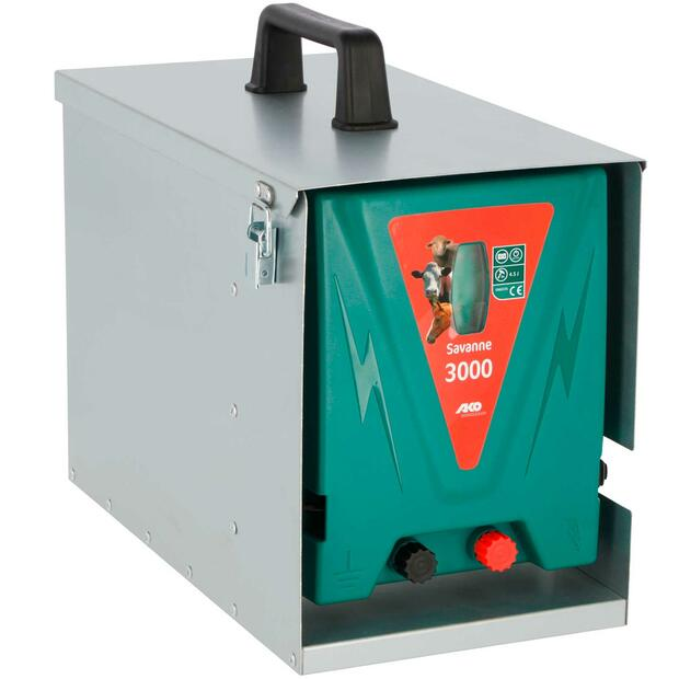 AKO Savanne 3000 electric fence energiser with metal box,...