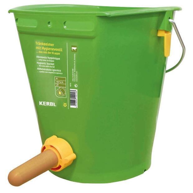 Calf feeding bucket with hygienic valve and teat