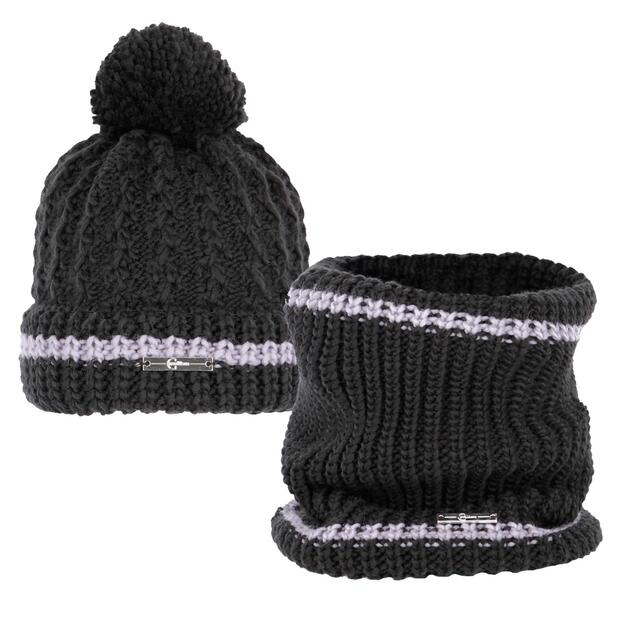 Covalliero knit hat and tunnel scarf