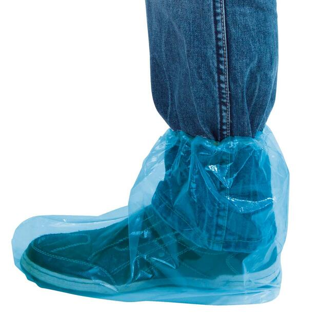 100 x Disposable Overshoes blue transparent