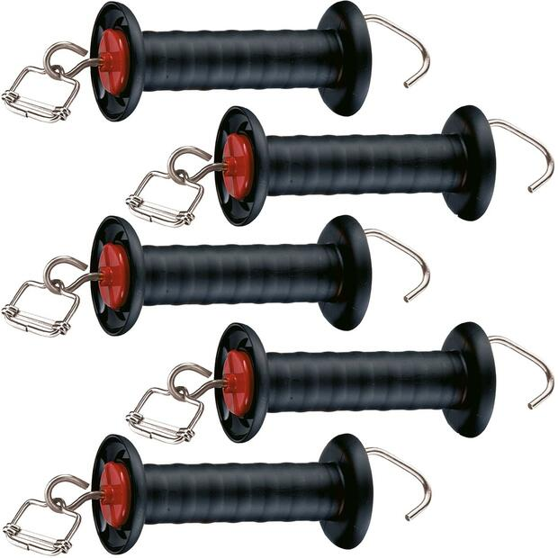 5 x Agrarzone Gate handle black, with hookand tape...