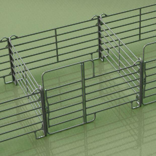 4x Fence panel galvanized 3x3 m, with gate