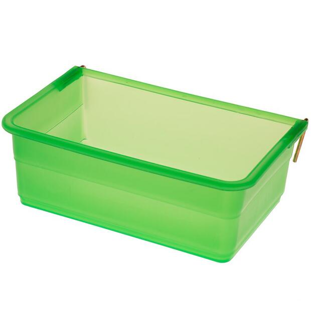 Food-/water trough, 800ml, PP green + fastening hook