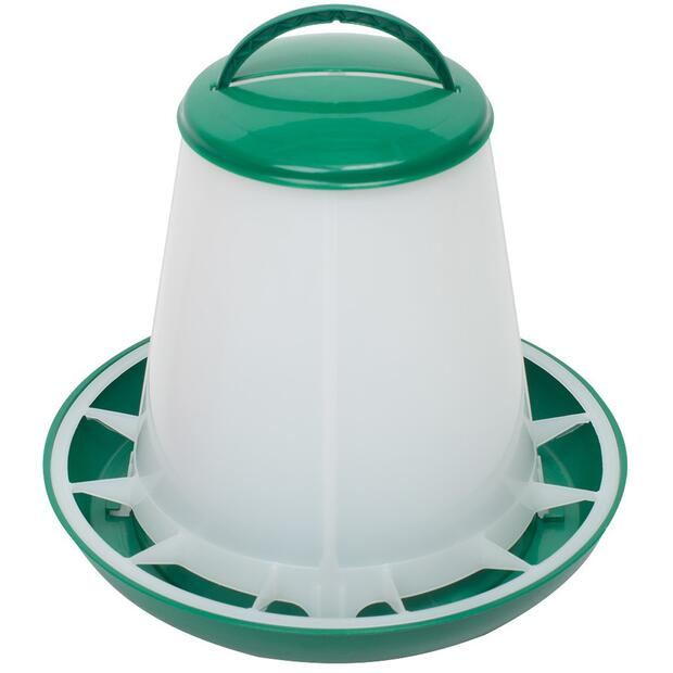 Poultry feeder with green lid