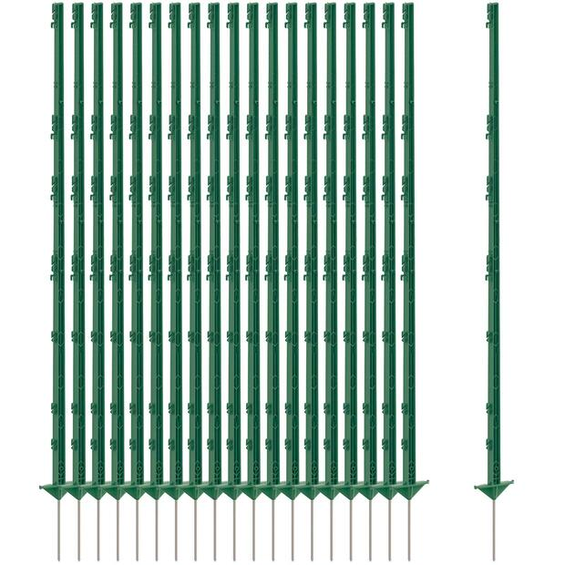 20x Agrarzone Pasture fence post 105cm, double tread, green